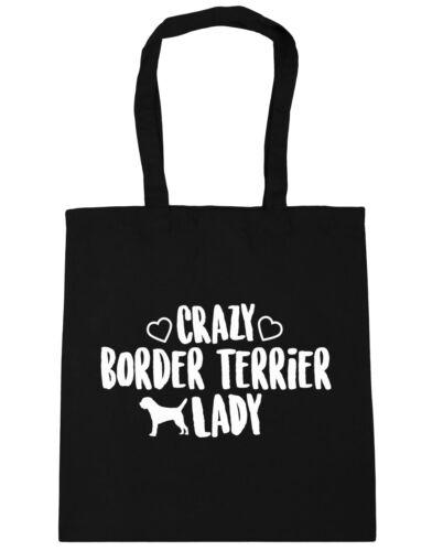 10 litres Crazy border terrier lady dog Tote Shopping Gym Beach Bag 42cm x38cm