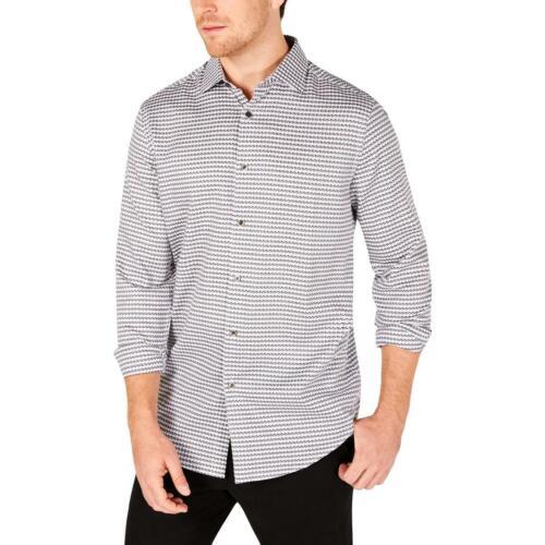 Tasso Elba Mens Black Houndstooth Textured Button-Down Shirt S BHFO 9490