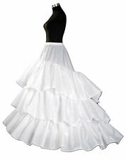 New 3 hoop 3 layer White Long Tail Underskirt Petticoat One Size UK Size 6 to 16