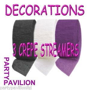 3 Crepe Streamers Black Purple White Birthday Party Decorations