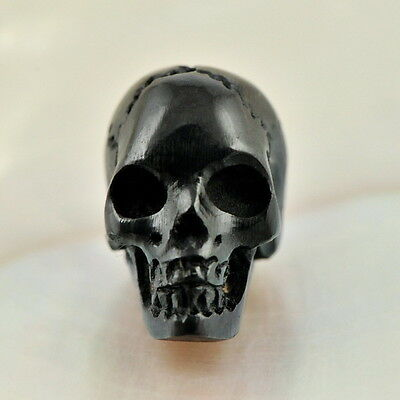 Human SKULL BEAD Black Bovine HORN Bali Carving 16 mm drilled 1 mm hand-carved