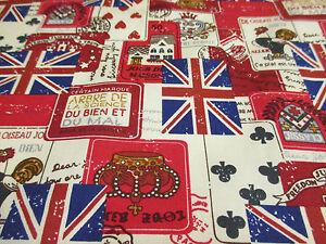 5-Meter-rot-Britisches-Retro-Aufdruck-100-Baumwolle-Popelin-Stoff