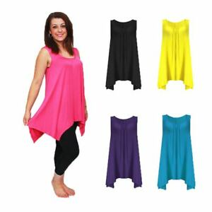 Sleeveless-long-length-loose-fitting-tunic-top-with-hanky-hem