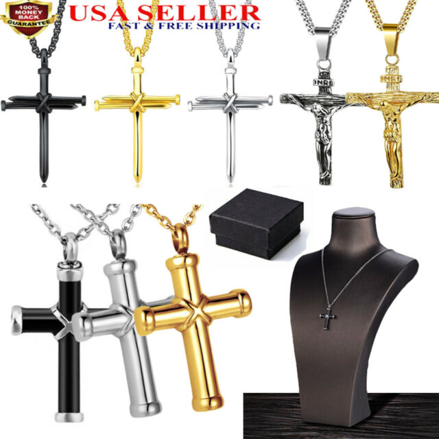 Stainless Steel Figaro Chain Necklace Cross Pendant Silver Gold For Mens Womens