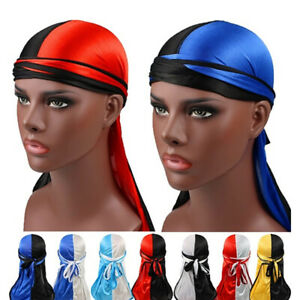 Women-Men-Silky-Durag-Head-Wrap-Cap-Summer-Bandannas-Rag-Hat-Solid-Fashion-YJ