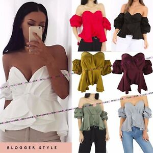 WOMENS-LADIES-RUFFLE-WRAP-OVER-BARDOT-OFF-THE-SHOULDER-CROP-BANDEAU-TOP-SHIRT