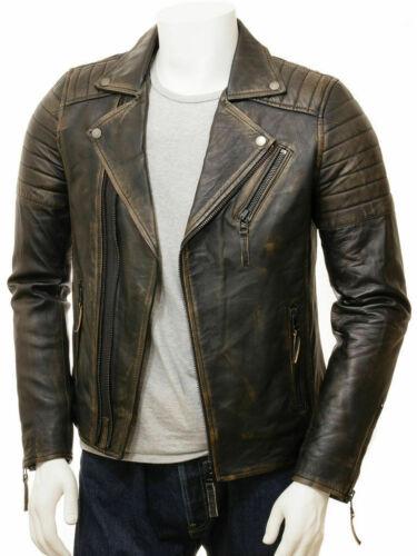 Vintage Mens Biker Motorcycle Distressed Brown Leather Jacket