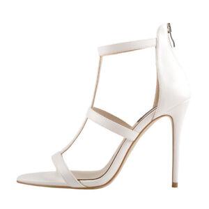 Onlymaker Womens Ankle Strap Open Toe Gladiator High Heel Stiletto Sandals White