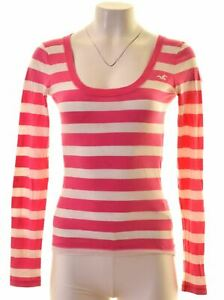 HOLLISTER-Womens-Top-Long-Sleeve-Size-6-XS-Pink-Striped-Cotton-MH06
