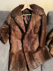 Luxury-Real-NUTRIA-FUR-Coat-Size-UK-14-16-Long-Coypu-Vintage-Brown-Jacket