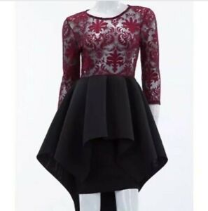 Hi-Lo-Tiered-Scuba-Black-Dress-with-Burgundy-Sheer-Bodice