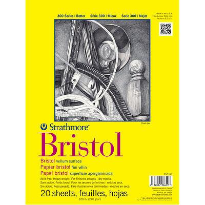 Strathmore : 300 Series : Bristol Paper : Pad : 9x12in : 20 Sheets : Vellum