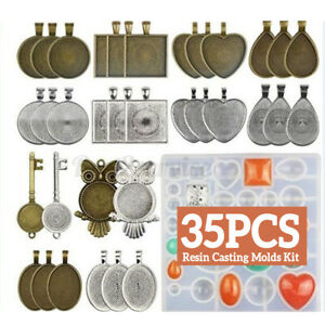 35PCS Pendant Mould Resin Casting Molds Kit Silicone Mold Set Jewelry DIY Making