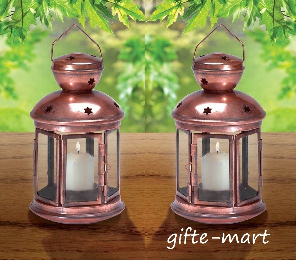 10  distressed COPPER Candle holder 9  Lantern light wedding table centerpiece