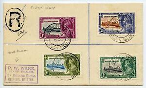 CAYMAN-IS-1935-5-6-Silver-Jubilee-set-on-registered-FDC-pmk-GEORGETOWN-cds