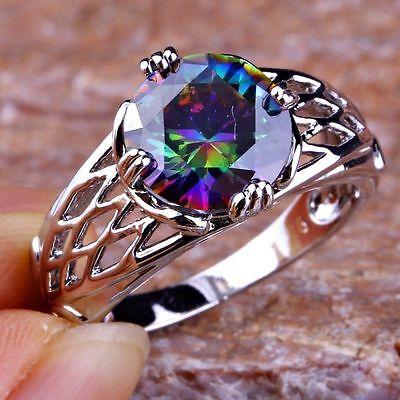 Best Selling Beauty Wedding Rainbow Topaz Gems Silver Rings Sz 6 7 8 9 10 11 12