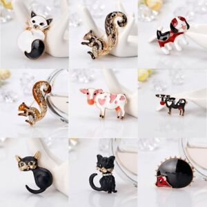 Fashion-Cat-Squirrel-Cow-Animal-Crystal-Brooch-Pin-Women-Jewelry-Costume-Party