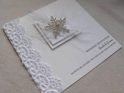 Luxury Wedding Invitation Christmas Theme Diamante Snowflake