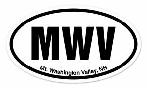 MWV-Mt-Washington-Valley-New-Hampshire-Oval-car-window-bumper-sticker-decal-5-034