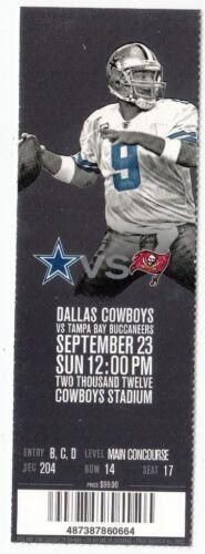 2012 DALLAS COWBOYS VS TAMPA BAY BUCCANEERS TICKET STUB 9//23//12 TONY ROMO
