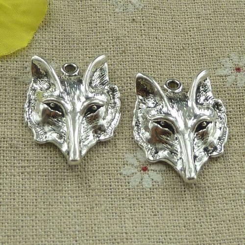 free ship 100 pcs tibetan silver wolf head charms 28x23mm #3241