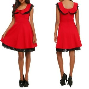 6ed67e118a Hot Topic Womens Red Black Lace Dress Fit & Flare Goth Rockabilly ...