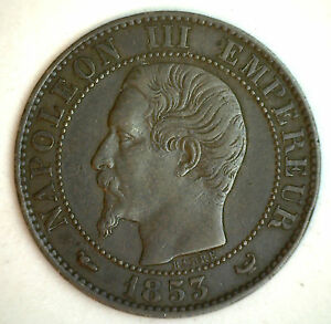 1853-W-France-5-Cent-Centimes-Bronze-Coin-XF