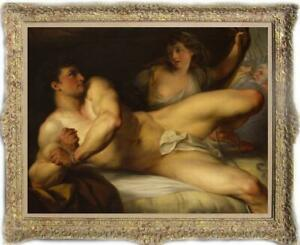 Old-Master-Art-Antique-Oil-Painting-Portrait-male-nude-girl-on-canvas-30-034-x40-034