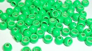 PREMIUM UV FL YELLOW CHARTREUSE PAINTED BRASS BEADS FLY TYING 6 SIZES 25 COUNT
