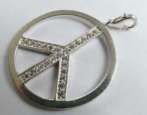 Anhänger Peace Zeichen 925 Silber 24 Zirkonias Vintage 60er Silver Pendant Die Nieren NäHren Und Rheuma Lindern Anhänger