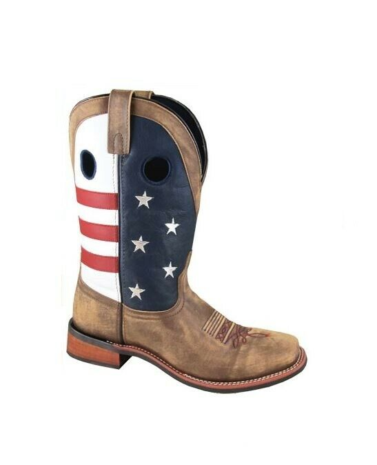 Smoky Women's 11 Red bluee American Flag Brown Leather Western Square Toe Boots