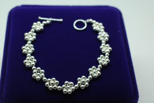 925 Solid Sterling Silver Daisy Chain Flower Bracelet