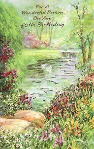 Happy Birthday Turning 50 50th Beautiful Flower Garden Stream