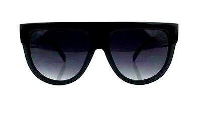 "Teardrop ""BLACK"" Oversized Flat Top Aviator Designer Women Sunglasses"