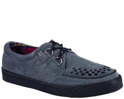 T.U.K A7691 Tuk Cuir Sauvage Gris Daim 2-ring Creeper Sneaker Rockabilly