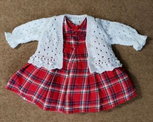 18d6be00a Mothercare Baby Girl Dress 0-3 Months hand knit white cardigan Red ...