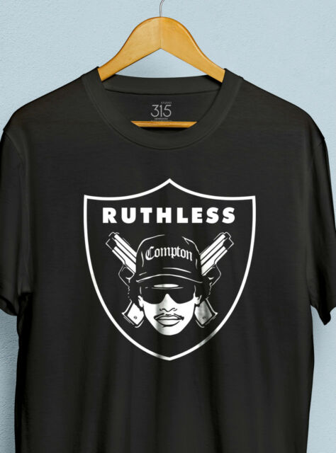 Mens EAZY E 'Raiders' T-shirt - Hip Hop, NWA, Public Enemy, Ice Cube, Rap, Dre