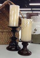 Pottery Barn Turned Wood Candle Holder Espresso Medium Pillar