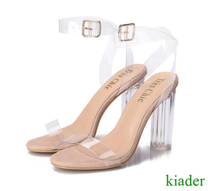 Sexy femmes Transparent Block High Heels Party Sandals Ankle Strappy Pumps chaussures