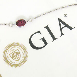 NEW-18K-White-Gold-16-034-1-13ctw-GIA-Oval-Pink-Sapphire-amp-Diamond-Pendant-Necklace