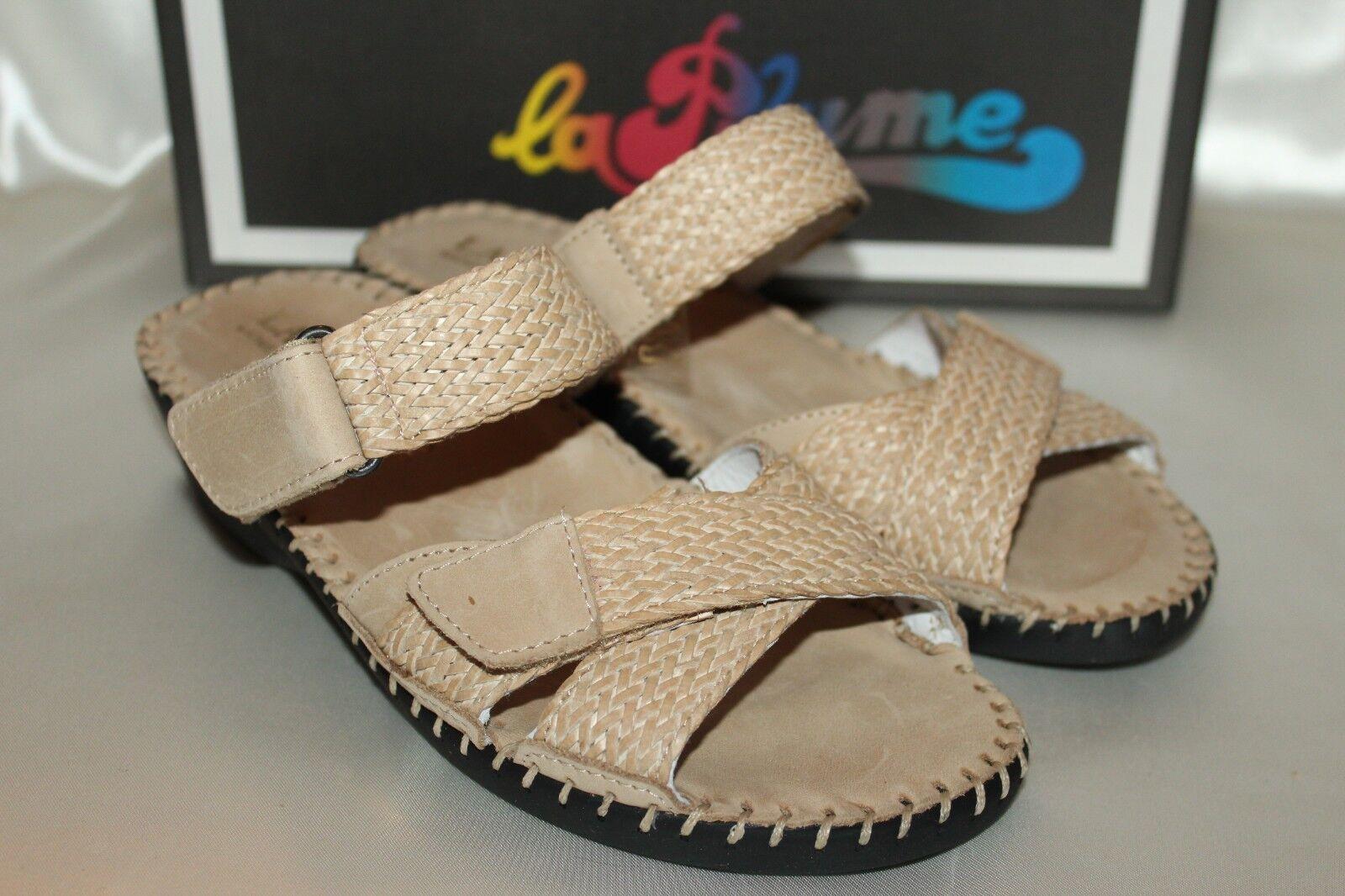 una marca di lusso NEW    LA PLUME Bone Woven Leather CLAIRE Wedge Open Toe Slides Mules Sandal EU36  shopping online di moda
