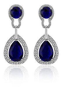 55206b6be Vintage Design Long Luxury Teardrop Silver & Dark Blue Drop Earrings ...