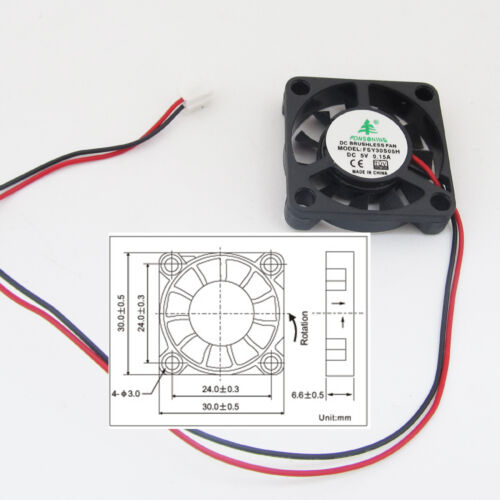 5pcs Brushless DC Cooling Fan 30x30x6mm 30mm 3006 5V 0.15A 2pin Connector US