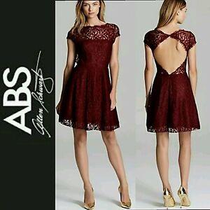 Details About 399 Abs Allen Schwartz Purple Lace Open Back Fit Flare Cocktail Dress10 M3020