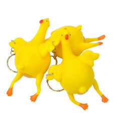 3x Funny Squeeze Chicken Laying Egg Keychain Relieve Stress Relax Toy Key Ring