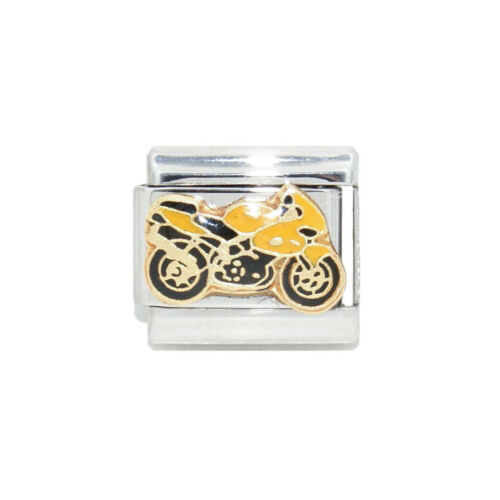 fits 9mm classic Italian charm bracelets Yellow Motorbike enamel Italian Charm
