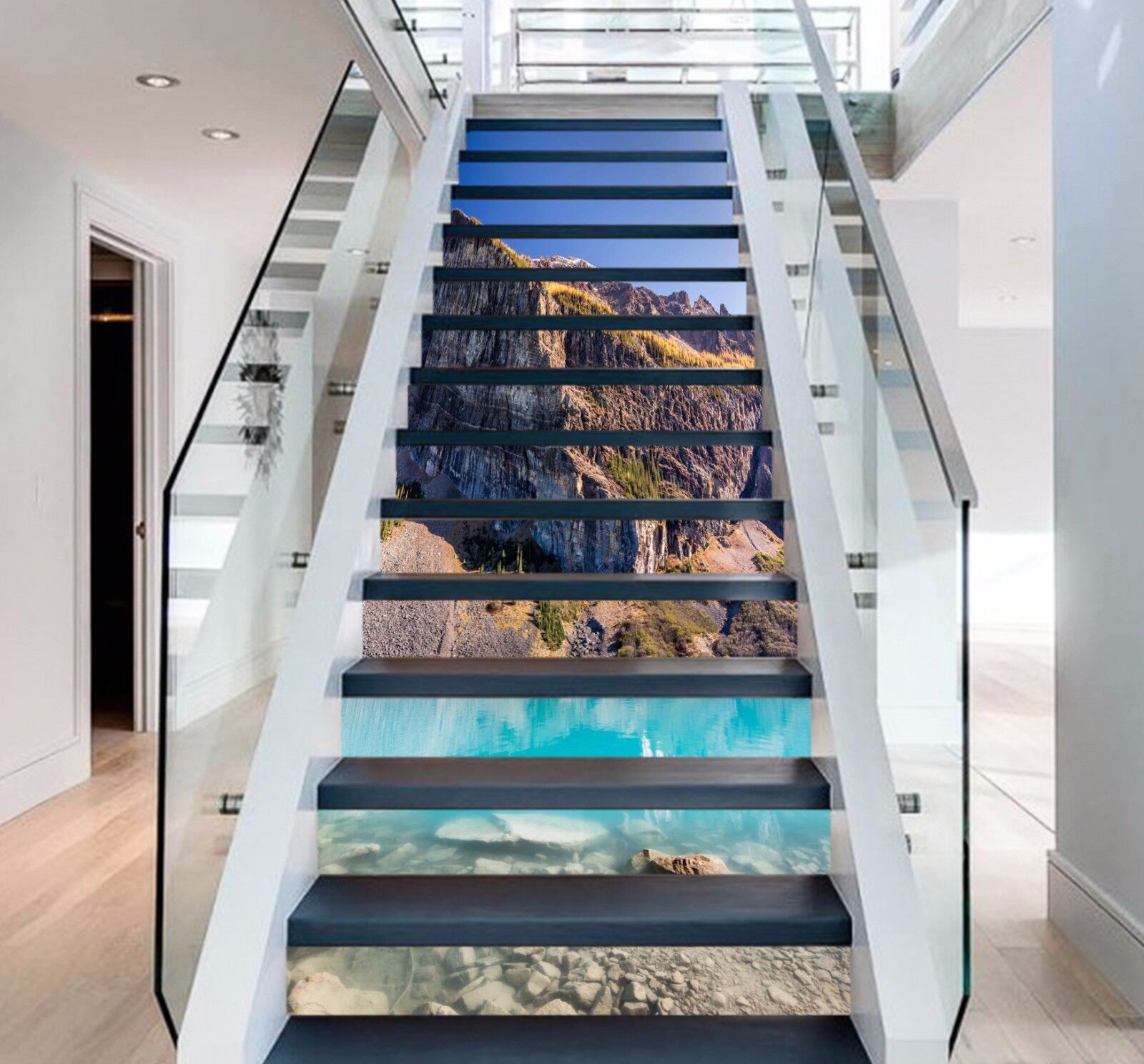 3D bluee Lake 396 Stairs Risers Decoration Photo Mural Vinyl Decal Wallpaper US