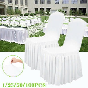 1 6 10 Stretch Lycra Ivory Wedding Slip Chair Covers Party Decor CHEAPEST IN UK!