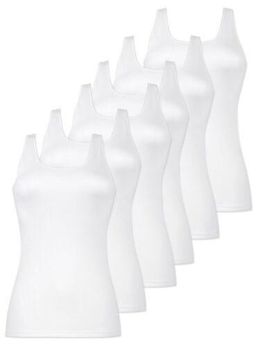 38-52 Weiss 6er Pack Damen Unterhemd Achselhemd aus Baumwolle 2504 Naturana Gr