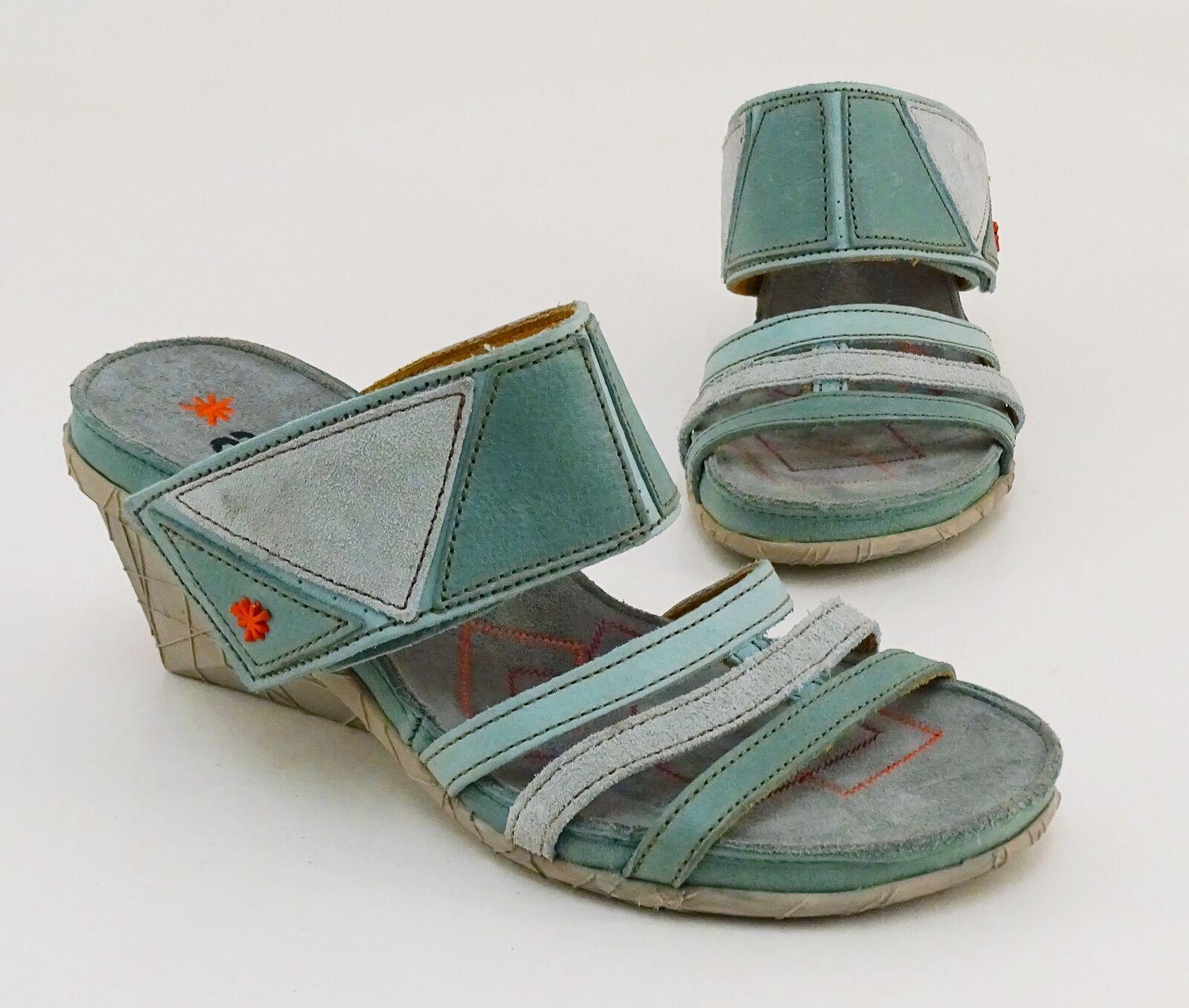 Tipo sandalias tacón de cuña velcro cuero genuino